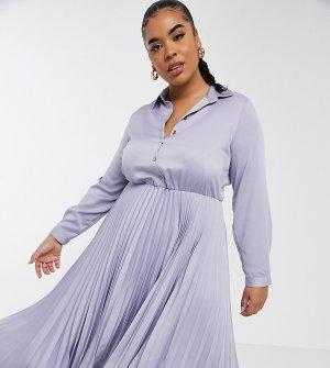 Сиреневое платье-рубашка миди с плиссированной юбкой -Фиолетовый цвет Closet London Plus