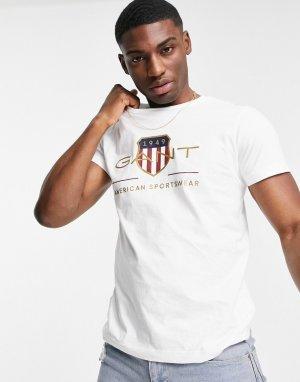 Футболка белого цвета с вышитым винтажным логотипом в виде щита -Белый Gant