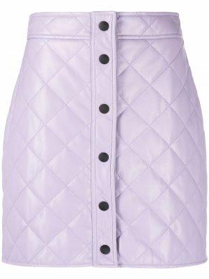 Стеганая юбка мини MSGM. Цвет: фиолетовый