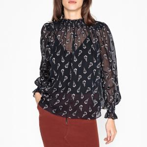 Блузка со стоячим воротником и длинными рукавами MALAWI BA&SH. Цвет: красный