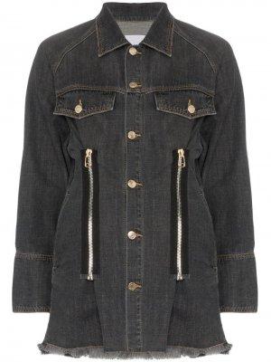 Джинсовая куртка с молниями SJYP. Цвет: черный