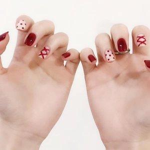24шт Накладные ногти с двухсторонней лентой SHEIN. Цвет: многоцветный