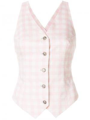 Облегающая жилетка в клетку Versace Pre-Owned. Цвет: розовый