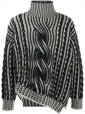 Джемпер фактурной вязки с молнией Alexander McQueen. Цвет: черный