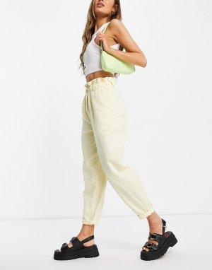 Повседневные брюки галифе лимонного цвета с присборенной талией -Желтый Topshop