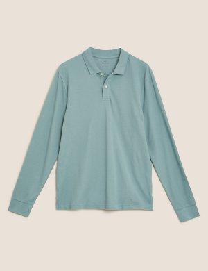 Рубашка-поло из чистого хлопка с длинным рукавом M&S Collection. Цвет: увядшая зелень