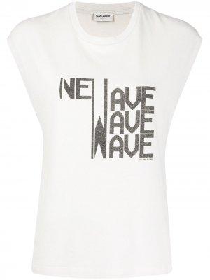 Топ с принтом New Wave Saint Laurent. Цвет: нейтральные цвета