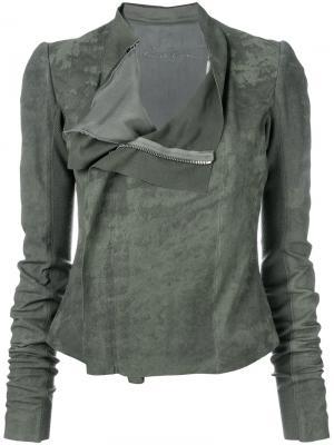 Байкерская куртка Naska Rick Owens. Цвет: зелёный