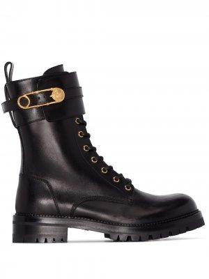 Ботинки на шнуровке Versace. Цвет: черный