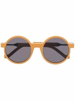 Солнцезащитные очки в круглой оправе VAVA Eyewear. Цвет: желтый