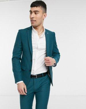 Сине-зеленый приталенный пиджак Avail London-Синий London