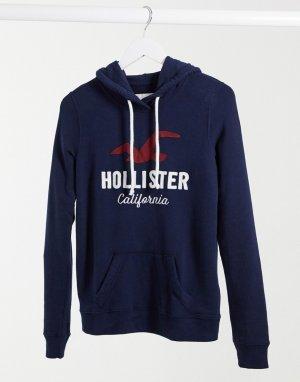 Темно-синий худи с логотипом спереди Hollister