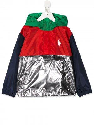 Пуловер из ткани рипстоп Ralph Lauren Kids. Цвет: серебристый