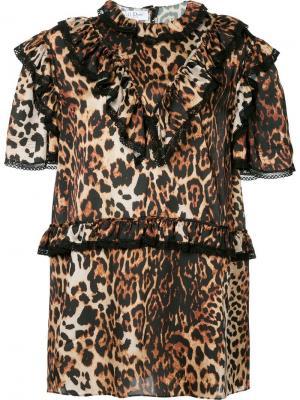 Платье с леопардовым принтом и оборками We11done. Цвет: коричневый
