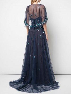Платье из тюля с кейпом Marchesa Notte
