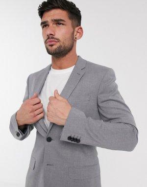 Серый пиджак скинни New Look