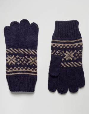 Перчатки с узором Фэйр-Айл 7X. Цвет: темно-синий