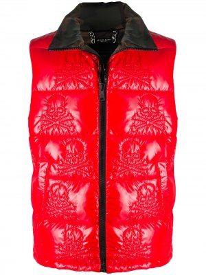 Жилет с вышивкой Skull Philipp Plein. Цвет: красный