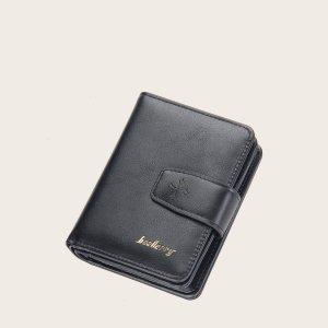 Мужской кошелек с текстовым рисунком SHEIN. Цвет: чёрный