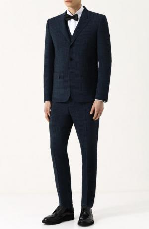 Шерстяной костюм-тройка Valentino. Цвет: темно-синий