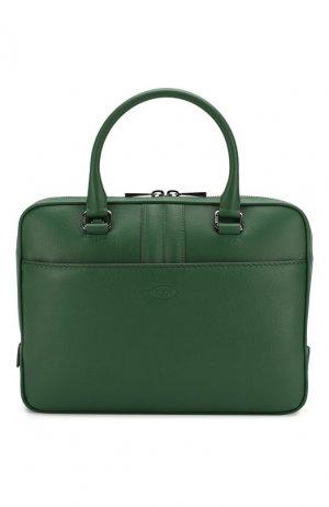 Кожаная сумка для ноутбука Tod's. Цвет: зелёный
