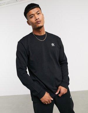 Черный лонгслив с принтом на спине adidas Originals