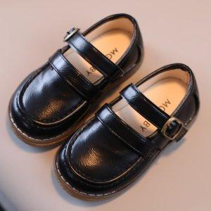 Для мальчиков Туфли мэри джейн минималистичный SHEIN. Цвет: чёрный