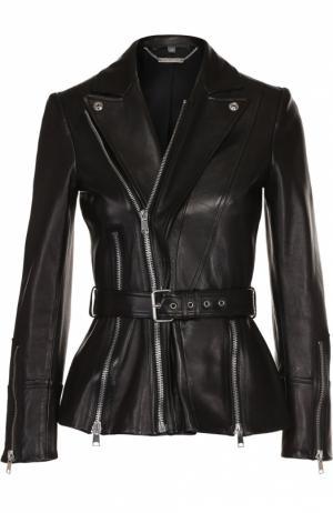 Приталенная кожаная куртка с поясом Alexander McQueen. Цвет: черный