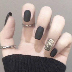 24шт матовые накладные ногти и двухсторонняя лента SHEIN. Цвет: чёрный