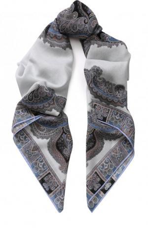 Платок из смеси шерсти и шелка с принтом Michele Binda. Цвет: синий