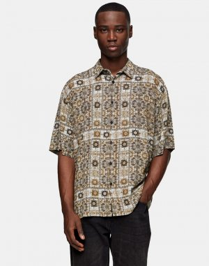 Серая рубашка с принтом в стиле банданы -Серый Topman