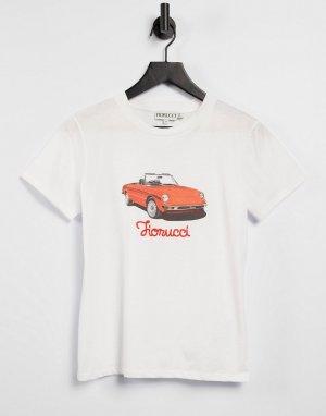 Белая футболка с принтом в виде ретро-машины и логотипом -Белый Fiorucci