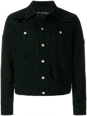 Джинсовая куртка с эффектом потертости Alexander McQueen. Цвет: черный