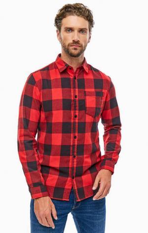 Хлопковая рубашка в клетку с карманом Jack & Jones. Цвет: красный