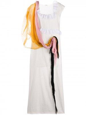 Длинное платье с драпировкой Miu. Цвет: белый