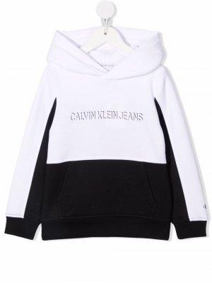 Худи в стиле колор-блок с логотипом Calvin Klein Kids. Цвет: черный