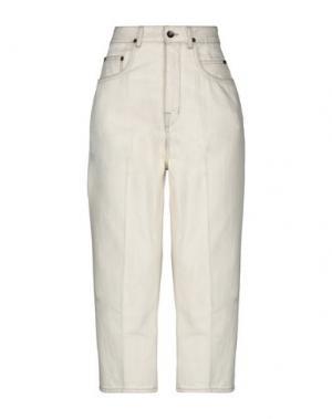 Джинсовые брюки-капри DRKSHDW by RICK OWENS. Цвет: слоновая кость