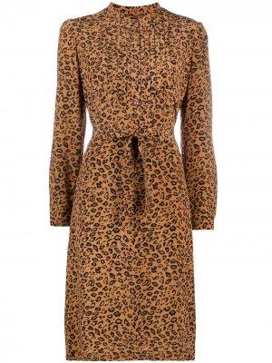 Платье А-силуэта с леопардовым принтом A.P.C.. Цвет: коричневый