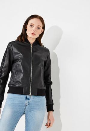 Куртка кожаная Iceberg. Цвет: черный