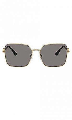 Солнцезащитные очки square metal VERSACE. Цвет: metallic gold,black