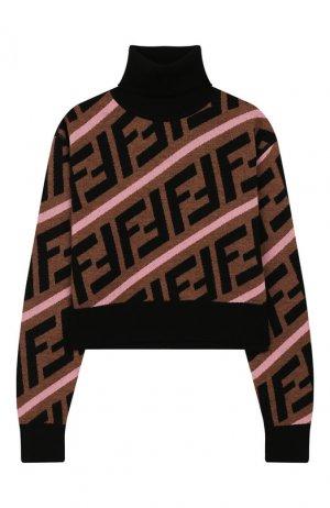 Укороченный свитер из шерсти Fendi. Цвет: коричневый