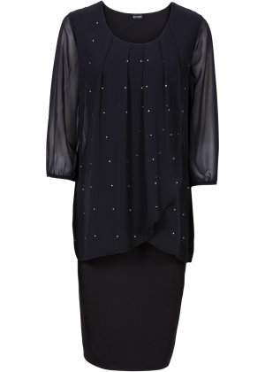 Коктейльное платье два в одном bonprix. Цвет: черный