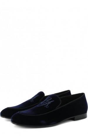 Бархатные лоферы Giorgio Armani. Цвет: синий