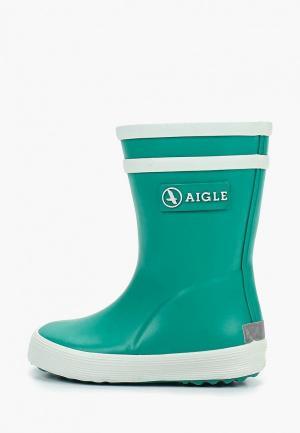 Резиновые сапоги Aigle. Цвет: зеленый