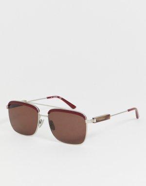 Квадратные солнцезащитные очки CK19100S-Красный Calvin Klein