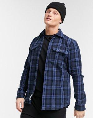 Рубашка навыпуск премиального качества в темно-синюю клетку с нагрудными карманами Premium-Темно-синий Jack & Jones