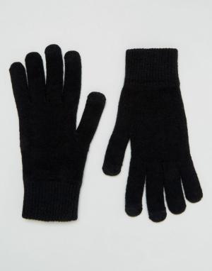 Черные перчатки для сенсорных гаджетов ASOS DESIGN. Цвет: черный