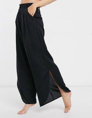 Черные пляжные брюки с разрезами -Черный Monki
