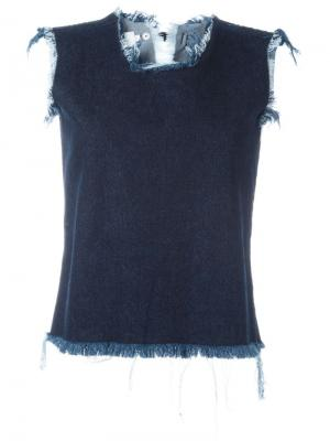 Майка с необработанными краями Marquesalmeida Marques'almeida. Цвет: синий