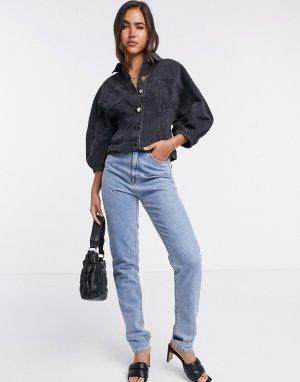 Черная джинсовая куртка с пышными рукавами -Черный цвет River Island